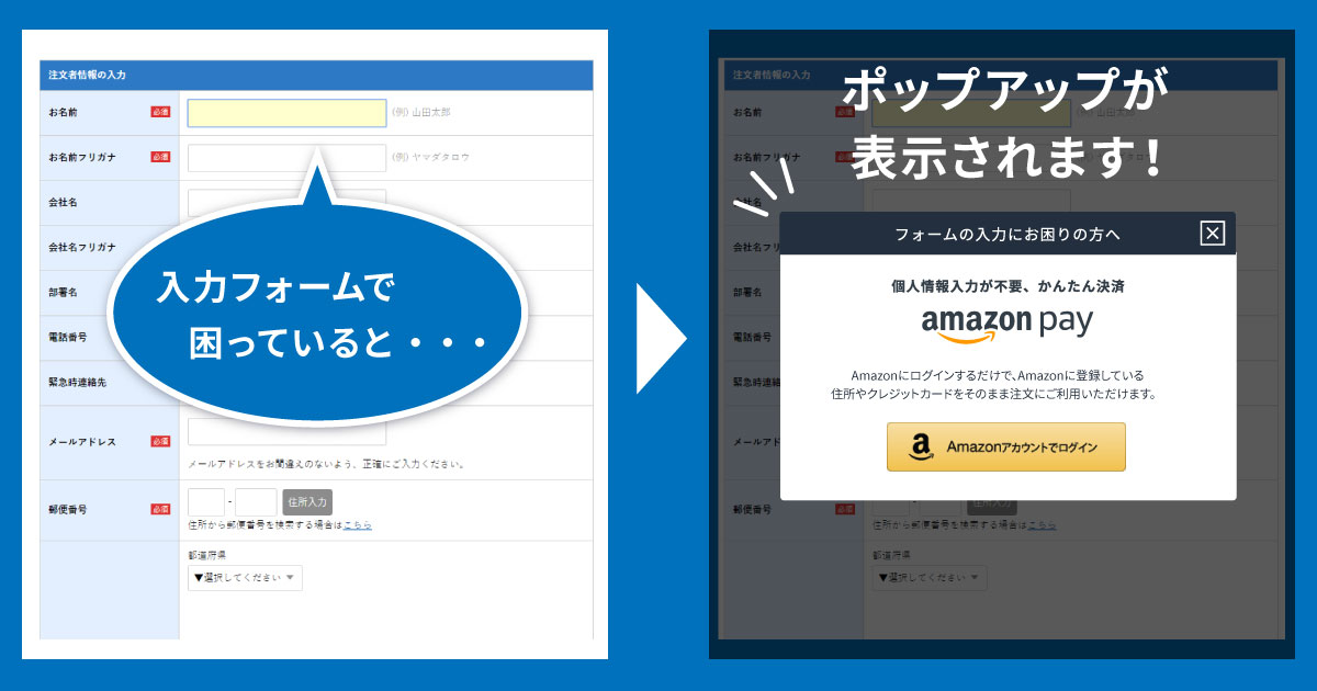 Web接客型Amazon Payポップアップ表示例